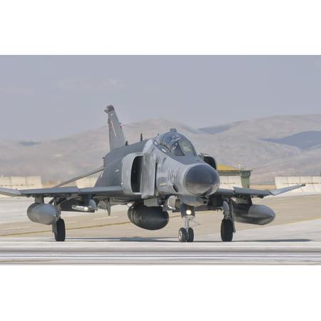 Turkish Air Force F-4 Phantom at Konya Air Base Turkey Canvas Art - Giovanni CollaStocktrek Images (34 x 23)