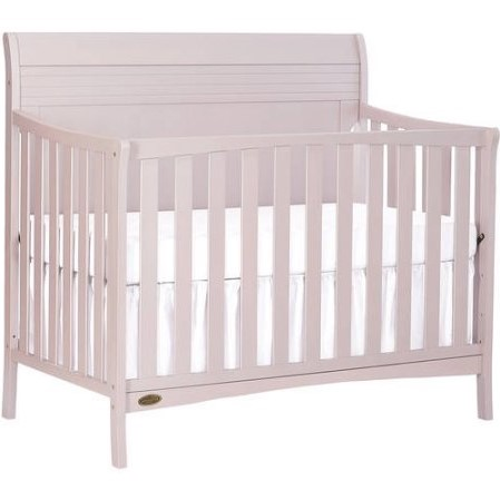 Dream On Me Bailey 5-In-1 Convertible Crib in Blush Pink