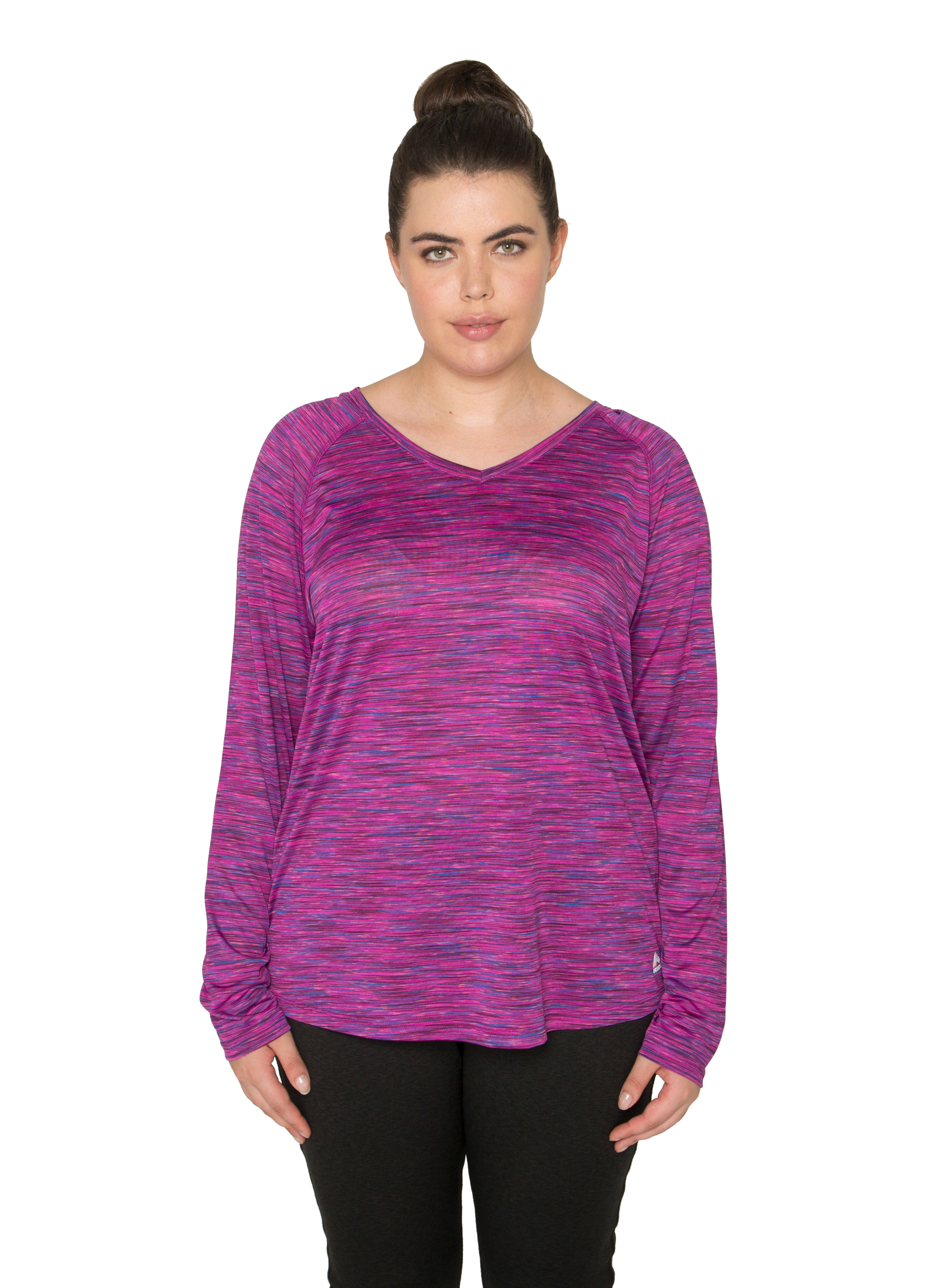 RBX Active Women's Plus Size Space Dye Long Sleeve Lightweight V-Neck Running Shirt