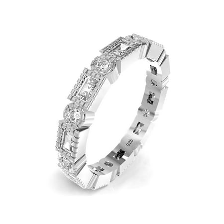 Sz 7 Sterling Silver Radiant & Round Cut CZ Stackable Anniversary Eternity Cubic Zirconia Band Ring