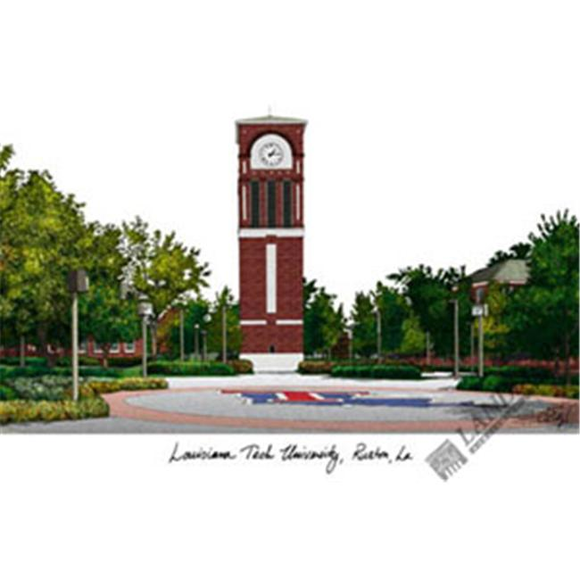 Louisiana Tech University Campus Images Lithograph Print