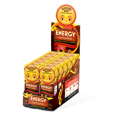 Good Boy Chocolate Drops (Good Day Chocolate Energy Supplement with Caffeine, 8 pieces, 12 pack )