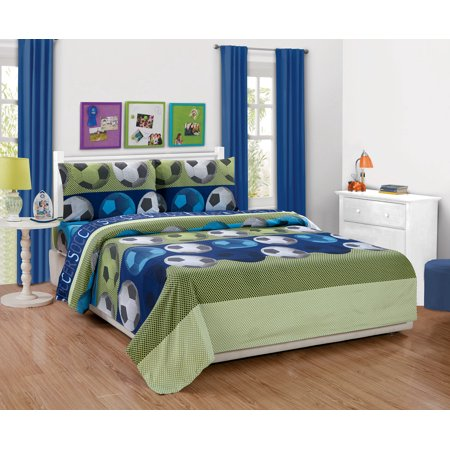 Fancy Linen Boys 4pc Soccer Blue green White Black Full Sheet Set