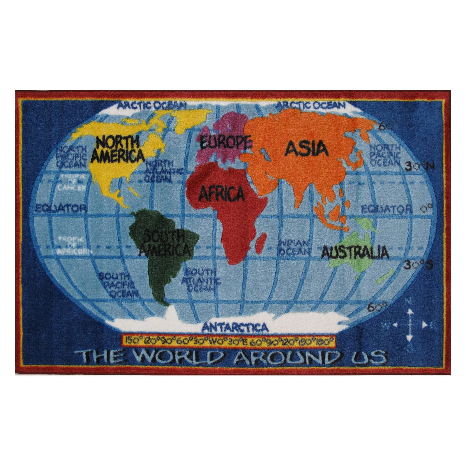 "Fun Rugs Supreme Kids World Map Kids' Rug, Blue, 3'3"" x 4'10"""