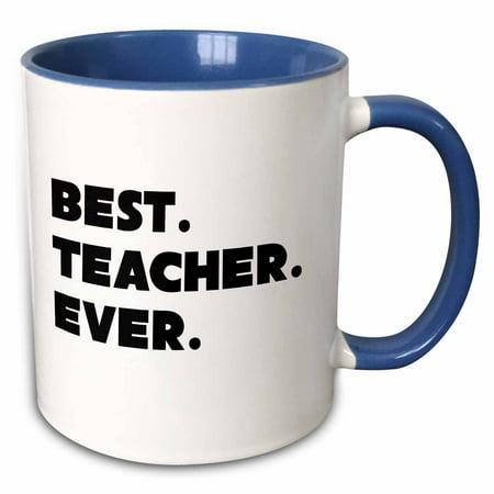 3dRose Best Teacher Ever - Two Tone Blue Mug, (Best Teacher Apples)