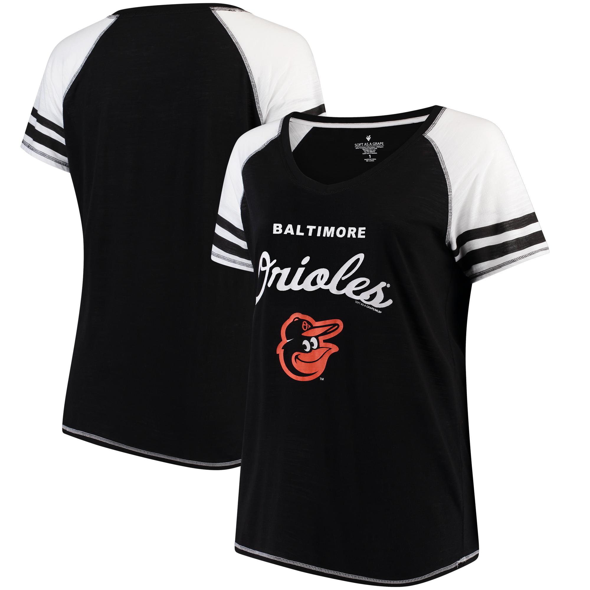Baltimore Orioles Soft as a Grape Women's Plus Sizes Three Out Color Blocked Raglan Sleeve T-Shirt - Black