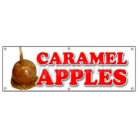 CARAMEL APPLES BANNER SIGN candy apple cart signs fresh candy fruit - Caramel Apples For Halloween Party