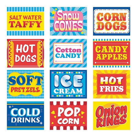 Fun Express - Carnival Food Sign Kit - Party Decor - Wall Decor - Cutouts - 12 Pieces - Carnival Cutouts