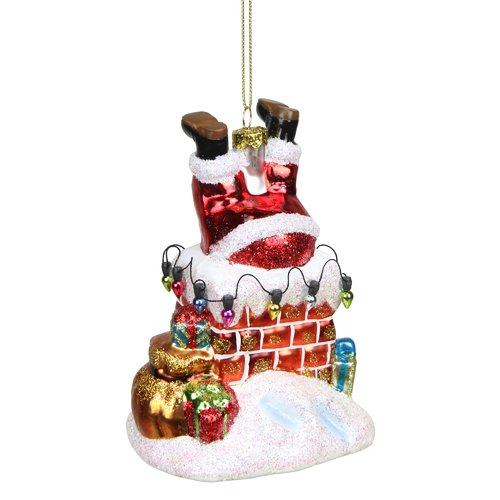 Northlight Seasonal Glass Santa with Chimney Decorative Christmas Ornament