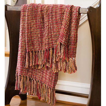 Lightweight Boucle Hand-knotted Fringe Throw Blanket, 64