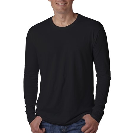 Branded Next Level Mens Cotton Long Sleeve Crew - BLACK - XL (Instant Saving 5% & more on min 2)