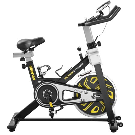 Health & Fitness Indoor Cycling Bike with LCD Monitor, 22LB Flywheel, 330LB Max Weight - Merax cys400