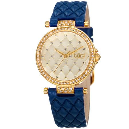 Women's Swarovski Crystals Quartz Quilted-Design Leather Blue Strap Watch