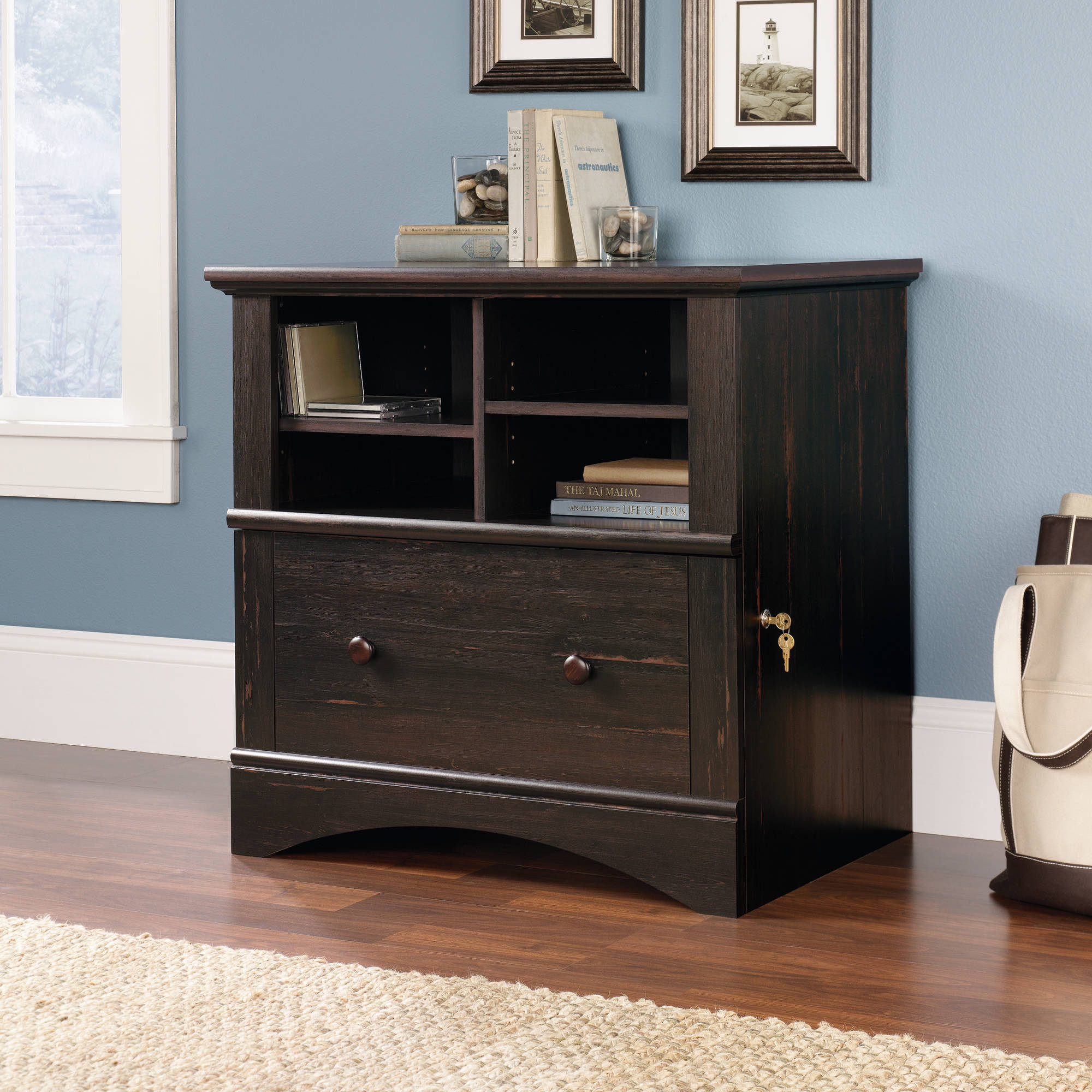 Sauder Harbor View Lateral File Cabinet, Antiqued Paint