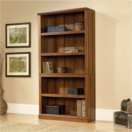 5 Piece Cherry Finish Wood - Pemberly Row 5 Shelf Bookcase in Washington Cherry Finish