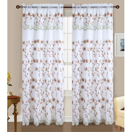 Easton Embroidered 54 x 84 in. Rod Pocket Curtain Panel w/ Attached 18 in. Valance, Sage