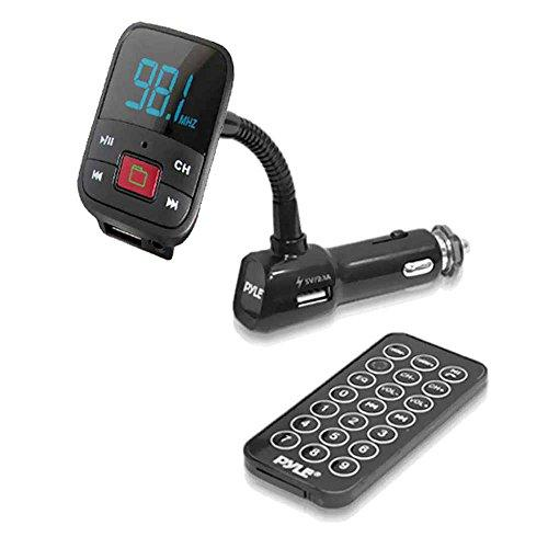 FM Radio Transmitter with USB & Micro SD Card Readers for MP3/WMA Playing, USB Charging Port & AUX Input
