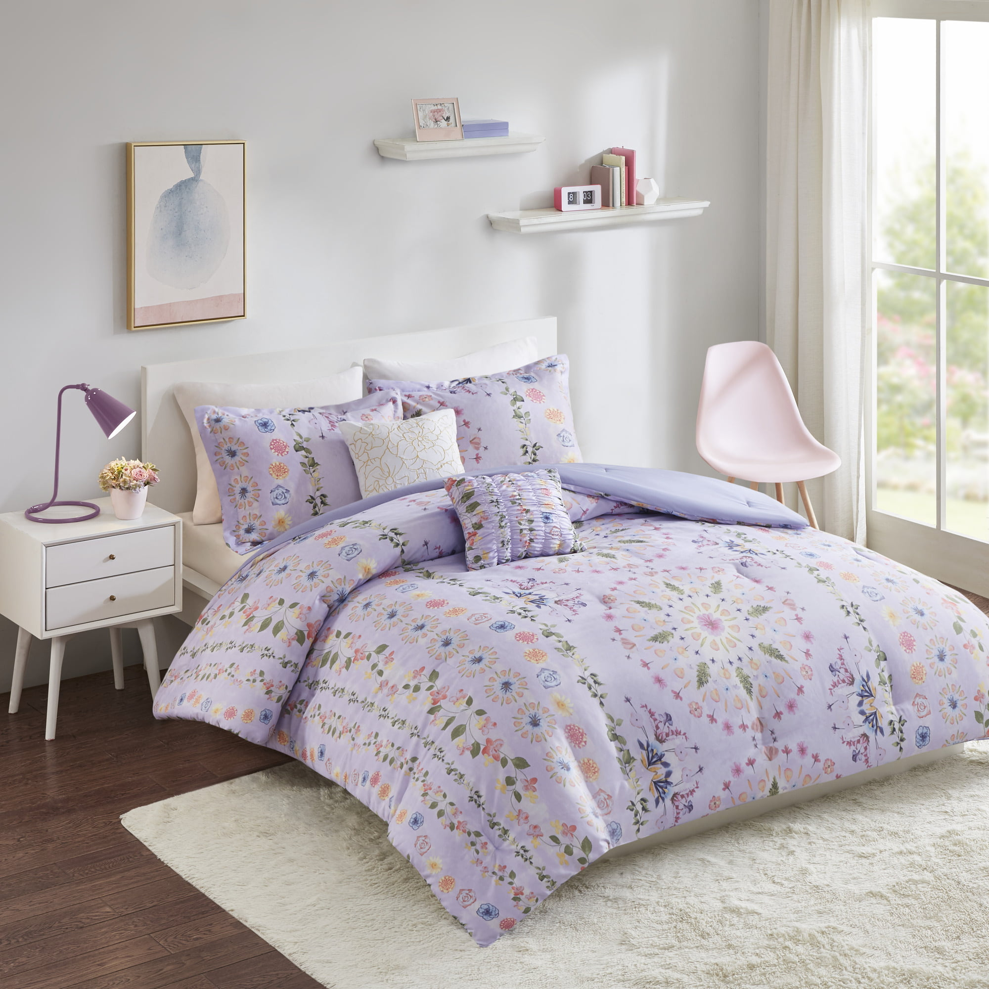 Home Essence Apartment Evie Printed Comforter Set Purple Twin Twin Xl Walmart Com Walmart Com