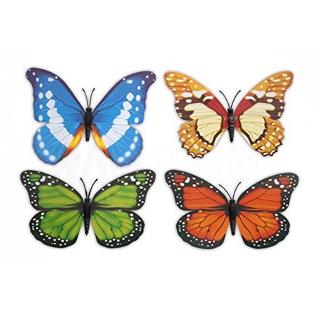 4pc Ram-Pro Beautiful Large Colorful & Realistic 3-D Design Assorted Butterflies For Refregirator Cabinets Windows Girls Room Garden Locker