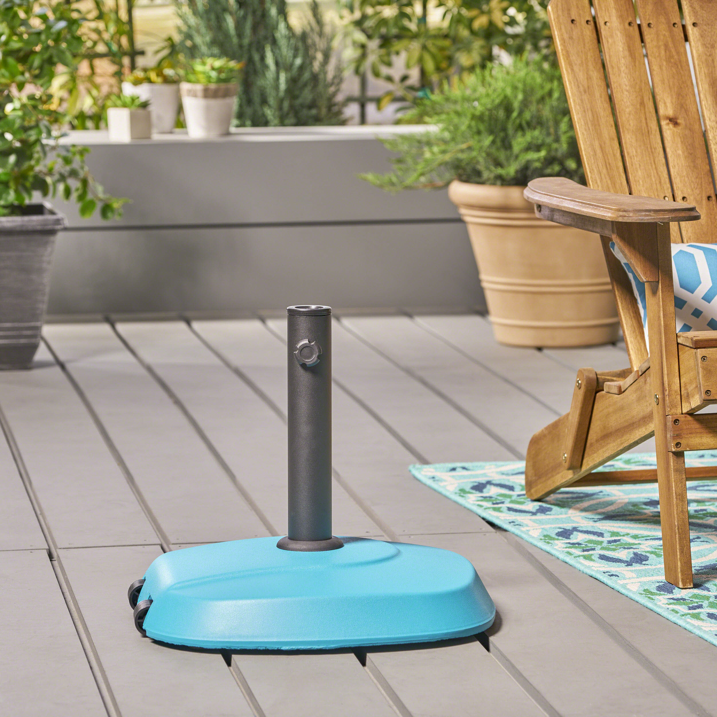 Outdoor 59.5lb Concrete Circular Umbrella Base with Aluminum Collar, Teal