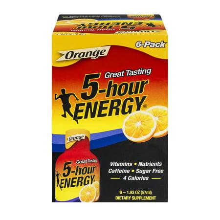 5 Hour Energy Dietary Supplement Orange   6 Ct