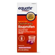 Equate Childrens Ibuprofen Bubblegum Suspension, 100 mg, 8 Fl Oz