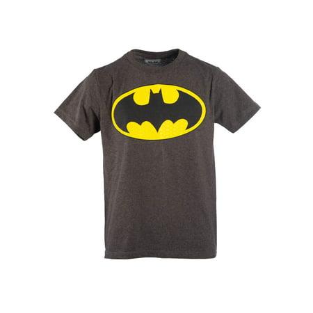 Batman Muscle Shirt (Boy's Charcoal DC Comics Batman Logo with HD Ink Short Sleeve)