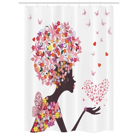 Butterflies Stall Shower Curtain Girl With A Heart Of Enjoying Blossoms Summertime Fantasy Happy