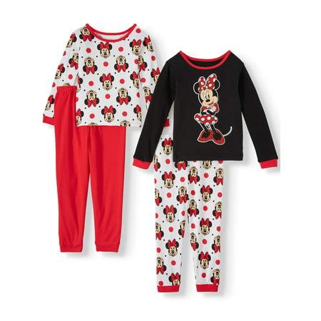 Minnie Mouse Toddler Girl Long Sleeve Cotton Snug Fit Pajamas, 4-Piece Set ()