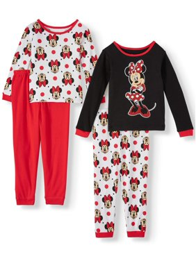 Minnie Mouse Toddler Girl Long Sleeve Cotton Snug Fit Pajamas, 4-Piece Set