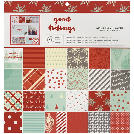 12 American Crafts (American Crafts Christmas 12 X 12 Paper Pad Golden)