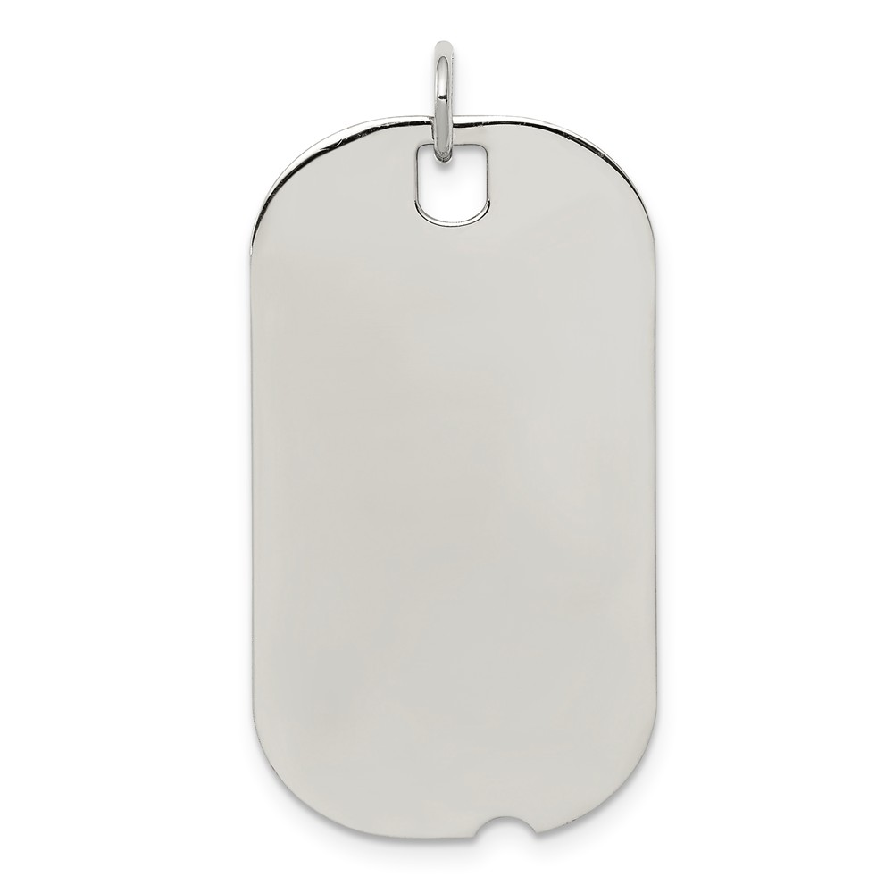 Sterling Silver Engraveable Dog Tag Disc Charm (1.3in long x 0.7in wide)