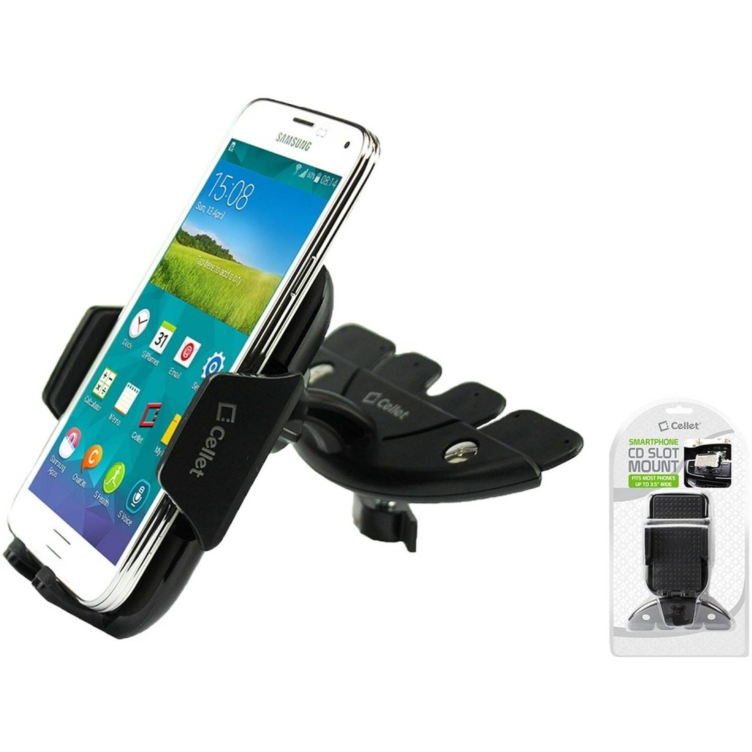 Cellet CD Slot Phone Holder Mount, Stable and Durable CD Slot Mount Holder with 360 Degree Rotational Cradle and Tightening Knob for Smartphones, iPods, GPS and Other Devices Up to 3.5 Inches Wide