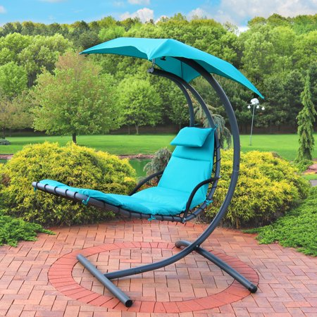 Sunnydaze Floating Chaise Lounger, Outdoor Hanging Hammock Patio Swing Chair with Canopy and Arc Stand,