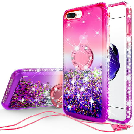online store cdd52 3bd14 Apple iPhone 7 Plus/iPhone 8 Plus Case Girls Women Bling Liquid Glitter  Phone Case Ring Kickstand Shock Proof Floating Quicksand Protective Cover  for ...