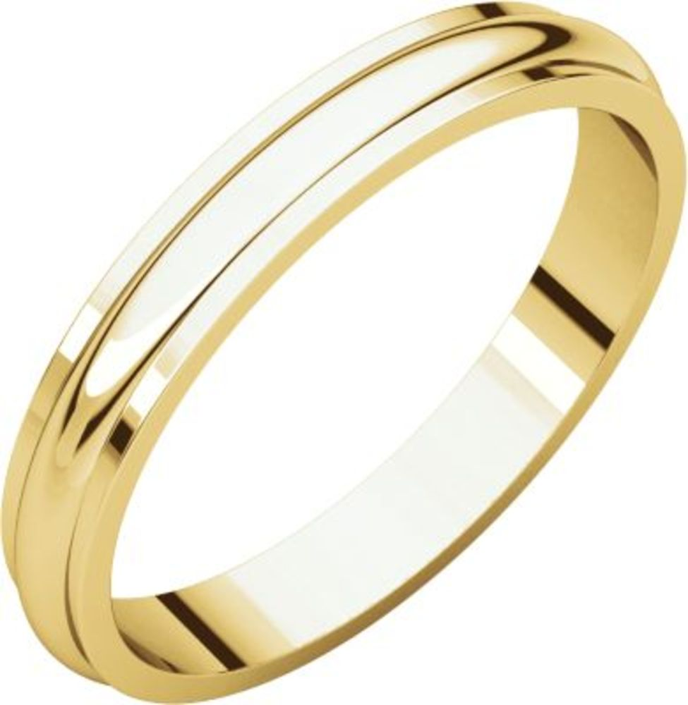 3mm Half Round Edge Band in 14k Yellow Gold - Size 8
