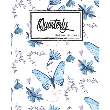 Bullet Journal Dot Grid, Quarterly Guided, Blue Butterfly Effect,  Composition Notebook, 8 X 10, 90 Page: Small Journal Notebook Diary for  Adults and K