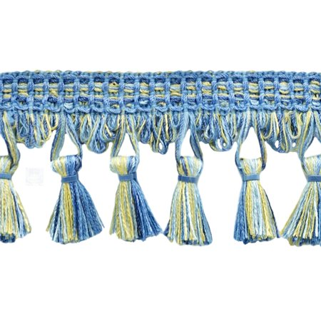 - 2.5 Inch French Blue, Cadet Blue, Blue Mist, Champange, Gold Tassel Fringe Trim|Style# TFDK025|Color: French Country - N42|Sold By the Yard