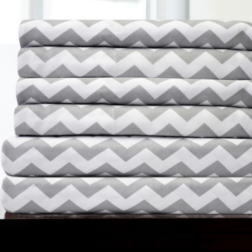 6 Piece Chevron Bedroom Sheet Set 1500 Thread Count Egyptian Comfort