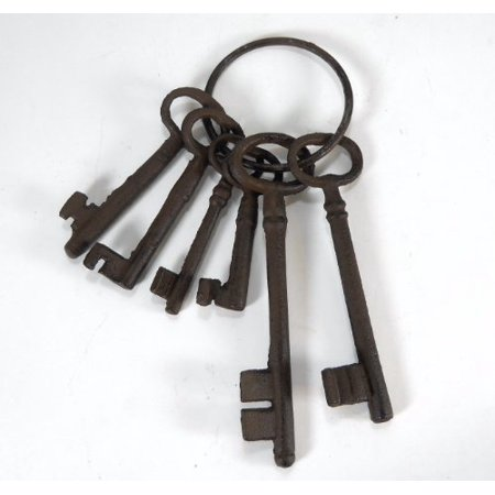 Cast Iron Skeleton Key Set Jail Cell Jailer Pirate ()