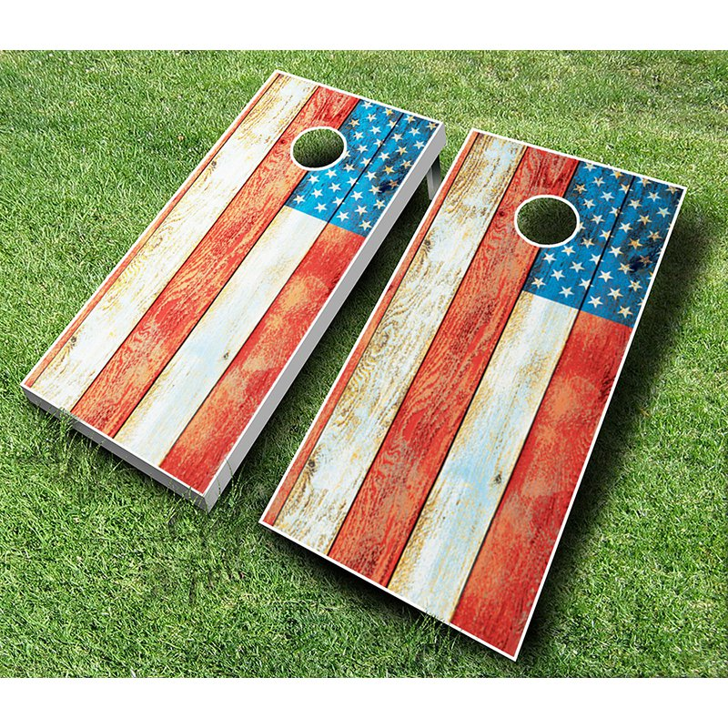 AJJ Cornhole Distressed American Flag Tournament Cornhole Set by AJJ Cornhole