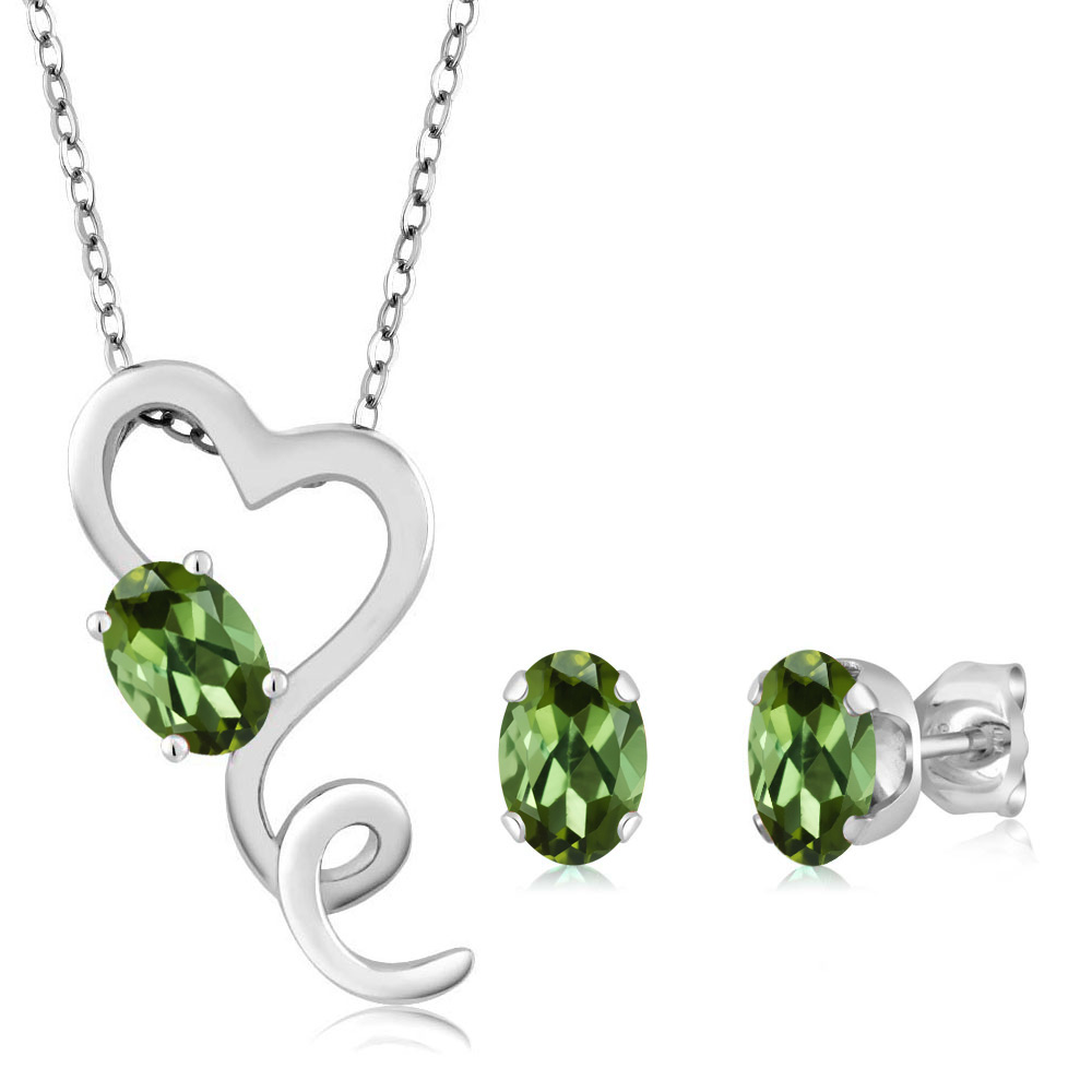 2.10 Ct Oval Green Tourmaline 14K White Gold Pendant Earrings Set by