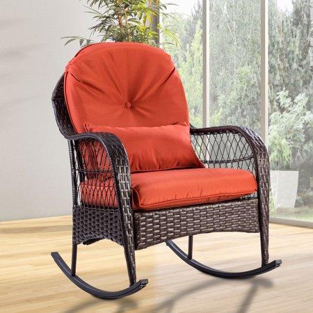 Gymax Patio Rattan Wicker Rocking Chair Porch Deck Rocker Outdoor Furniture W/ Cushion - image 9 of 10
