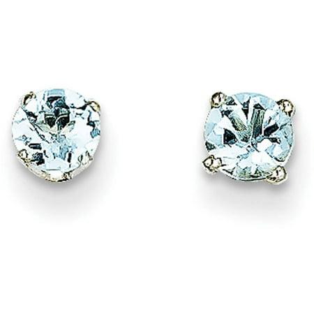 Aquamarine 14k White Gold Earrings - Aquamarine 14kt White Gold 4mm Stud Earrings