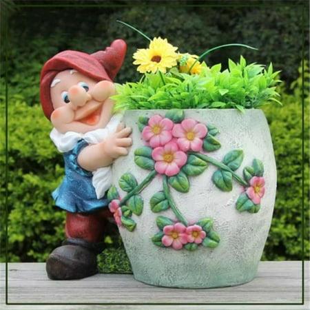 Cute Gnome Hugs Flower Pot Planter - image 1 of 1