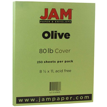 JAM Paper 8 1/2 x 11 Cardstock, 80 lb Olive Cover, 250 Sheets/Pack