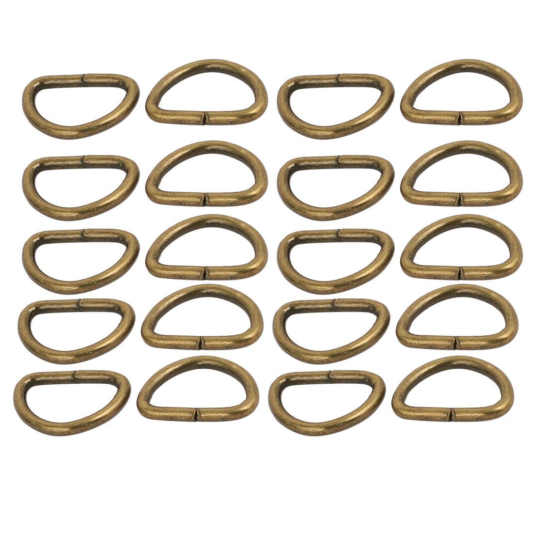 Unique Bargains 10mm Inner Width Metal Half Round Non Welded D Ring Bronze Tone 20pcs