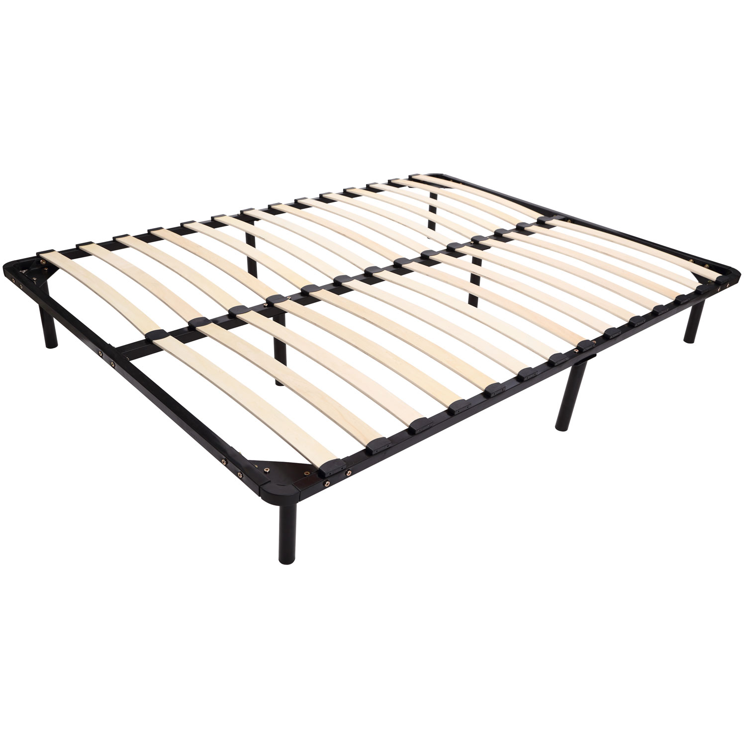 homcom queen size mattress wood slat platform bed frame - walmart