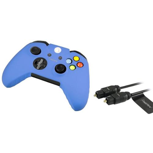 Insten 3' Digital Toslink Audio Cable Optical Cord + Blue Silicone Skin Case for Xbox One