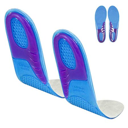Gel Insoles - Shoe Inserts for Walking, Running, Hiking - Full Length Orthotics for Men, Women - Cushion Soles for Heels, Arch Support, Plantar Fasciitis, Massaging Flat Feet - Fits Work Boots